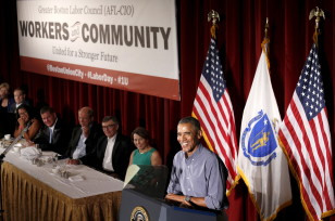 President Barack Obama speaks at the Greater Boston Labor Council Labor Day Breakfast in Boston on Labor Day, Sept. 7, 2015. (Reuters)