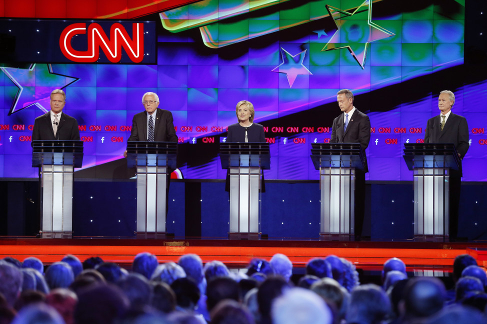 Democratic presidential candidates from left, former Virginia Sen. Jim Webb, Sen. Bernie Sanders, of Vermont, Hillary Rodham Clinton, former Maryland Gov. Martin O'Malley, and former Rhode Island Gov. Lincoln Chafee at the CNN Democratic presidential debate on Oct. 13, 2015 in Las Vegas. (AP)