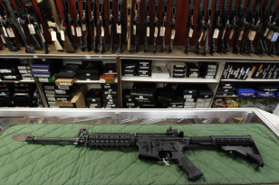 In this July 26, 2012 file photo, an AR-15 style rifle is displayed at the Firing-Line indoor range and gun shop in Aurora, Colorado. (AP)