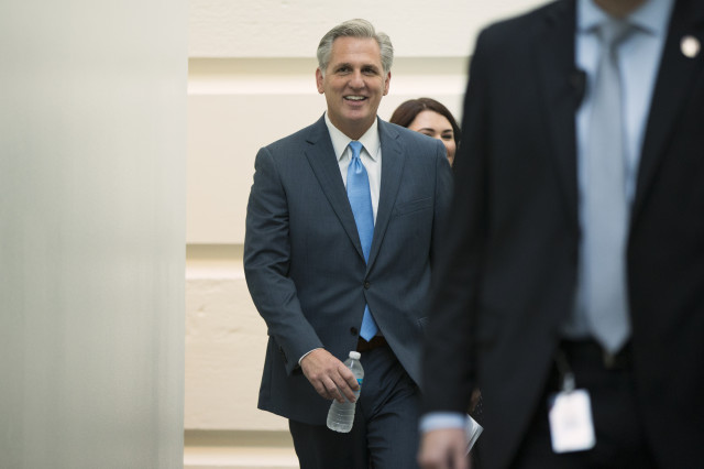 Majority Leader Rep. Kevin McCarthy, R-Calif., arrives for a meeting on Capitol Hill ahead of a nomination vote to replace House Speaker John Boehner, who is stepping down, and retiring from Congress on Oct. 8, 2015. (AP)