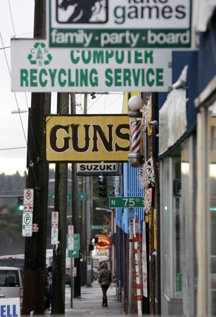 A gun shop is seen among other businesses on Dec. 19, 2012 in Seattle, Washington. (AP/File)