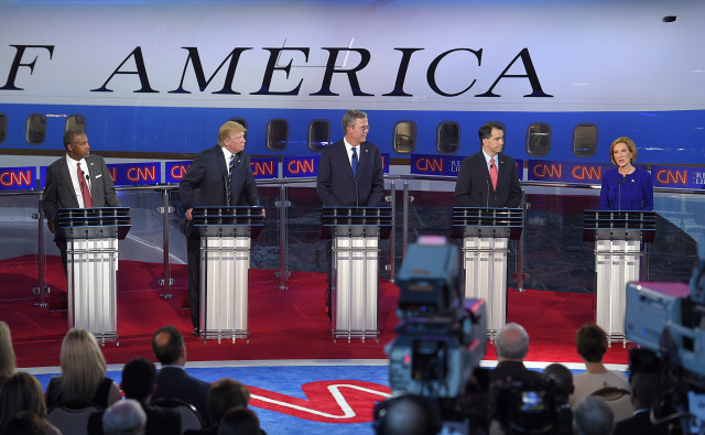 Republican nominee candidates debate  at the Ronald Reagan Presidential Library and Museum on Sept. 16, 2015 in Simi Valley, Calif. (AP)