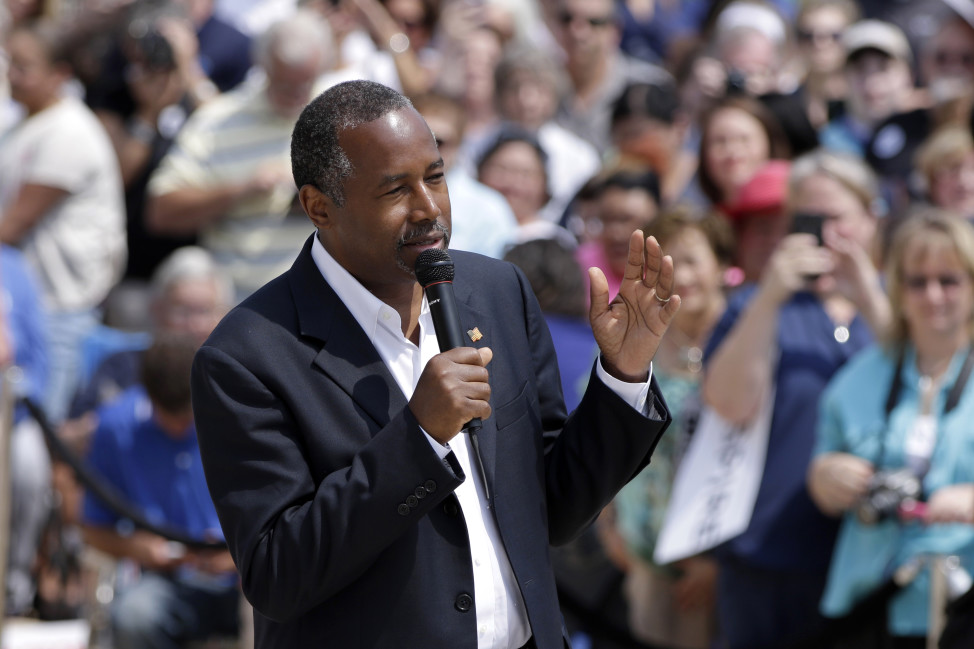 Republican presidential candidate Ben Carson speaks at a rally in Little Rock, Ark. on Aug. 27, 2015. (AP)