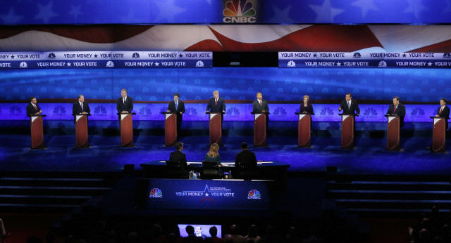Republican presidential candidates, from left, John Kasich, Mike Huckabee, Jeb Bush, Marco Rubio, Donald Trump, Ben Carson, Carly Fiorina, Ted Cruz, Chris Christie, and Rand Paul appear during the CNBC Republican presidential in Colorado on Oct. 28, 2015. (AP)