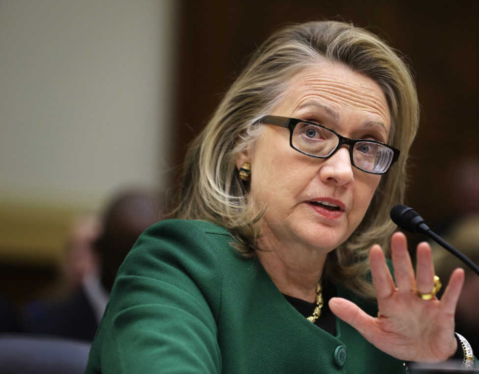 Then Secretary of State Hillary Rodham Clinton testifies on Capitol Hill on Jan. 23, 2013 before a hearing on the deadly attack on the U.S. diplomatic mission in Benghazi, Libya that killed Ambassador Chris Stevens and three other Americans.   (AP)