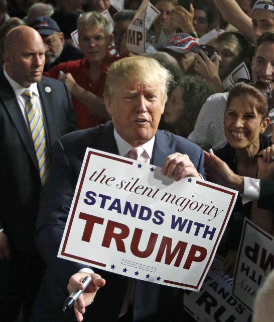 Republican presidential candidate Donald Trump shows media photographers a sign during a campaign stop on Oct. 23, 2015 in Doral, Fla. (AP)
