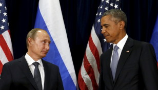 U.S. President Barack Obama and Russian President Vladimir Putin at the United Nations General Assembly in New York September 28,  2015. (Reuters)