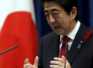 Japan's Prime Minister Shinzo Abe holds a news conference in Tokyo on Oct. 6, 2015. (Reuters)