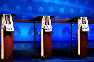 The podiums for (L to R) Marco Rubio, Donald Trump and Ben Carson are lined up for the third Republican presidential candidate debate in  Colorado on Oct. 27, 2015. (Reutters)