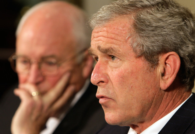 President Bush, accompanied by Vice President Dick Cheney, makes a statement at the White House on June 17, 2008. (AP)