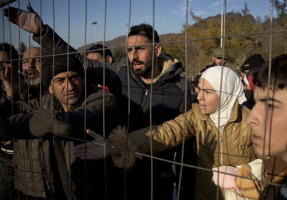 Migrants held in Sentilj, Slovenia are pictured before being allowed to cross the border into Austria on Nov. 5, 2015. (AP)