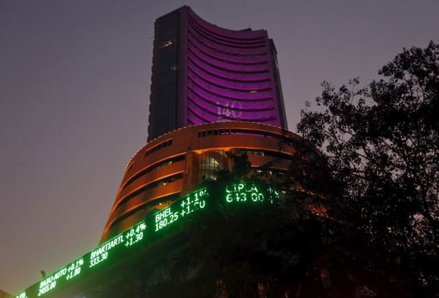 "The Bombay Stock Exchange (BSE) building is illuminated during a special ""muhurat"" trading session for Diwali, the festival of lights, in Mumbai, India, November 11, 2015. (Reuters)"