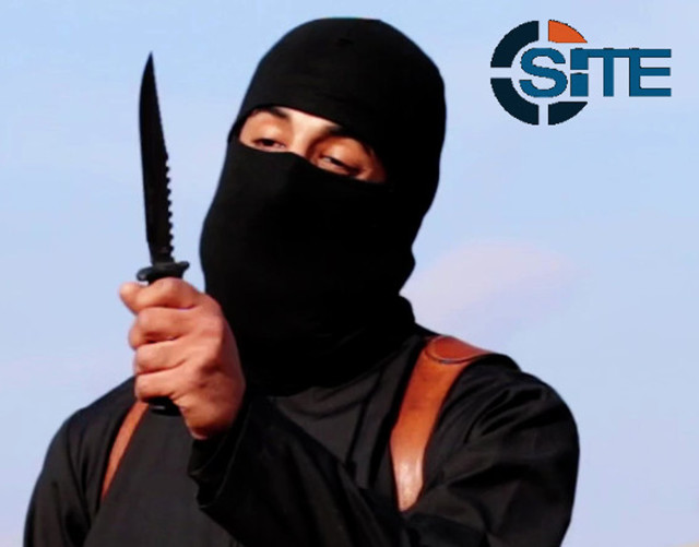 """Jihadi John"" - iidentified by the Washington Post  as a Briton named Mohammed Emwazi, brandishes a knife in this still image from a 2014 video obtained from SITE Intel Group on February 26, 2015. (Reuters)"