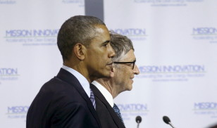 President Barack Obama stands with Bill Gates during the launch of Mission Innovation, a landmark commitment to dramatically accelerate global clean energy innovation, at the World Climate Change Conference 2015 in Paris on Nov. 30, 2015. (Reuters)