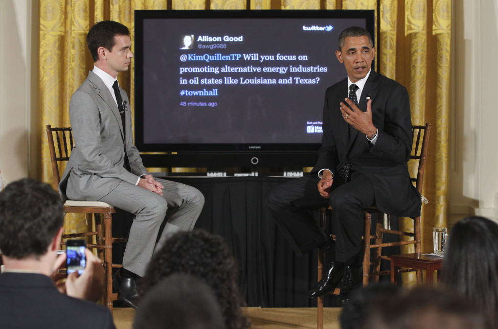 "President Barack Obama sits with Twitter co-founder and Executive Chairman Jack Dorsey during a ""Twitter Town Hall""  at the White House in Washington, July 6, 2011. (AP )"