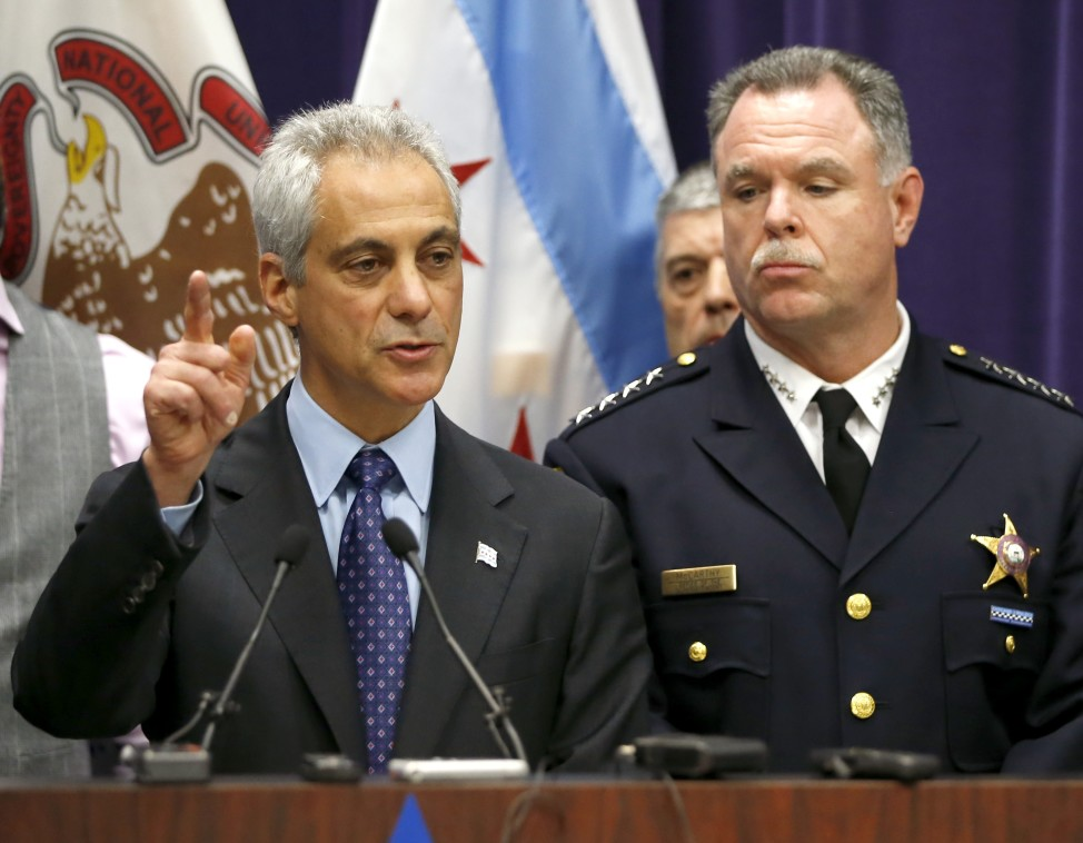 Chicago Mayor Rahm Emanuel, left, and Police Superintendent Garry McCarthy hold a news conference on Nov. 24, 2015 in Chicago, where they announced first-degree murder charges against police officer Jason Van Dyke in the shooting death of 17-year-old Laquan McDonald. (AP)