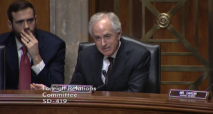 Sen. Bob Corker (R-Tennessee) chairs a Senate Foreign Relations Committee hearing on the Iran nuclear deal December 17, 2015