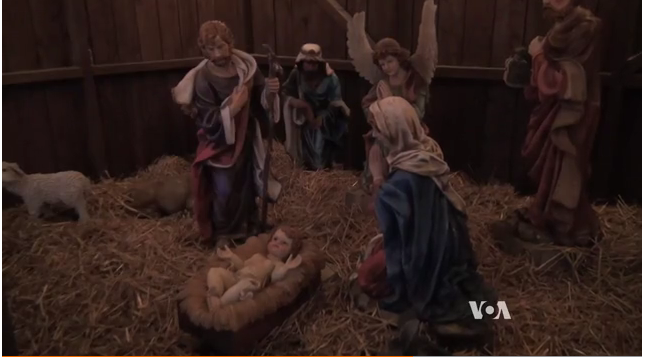 Nativity scene from the Koziar Christmas Village in Bernville, Pennsylvania (VOA/Deborah Block)