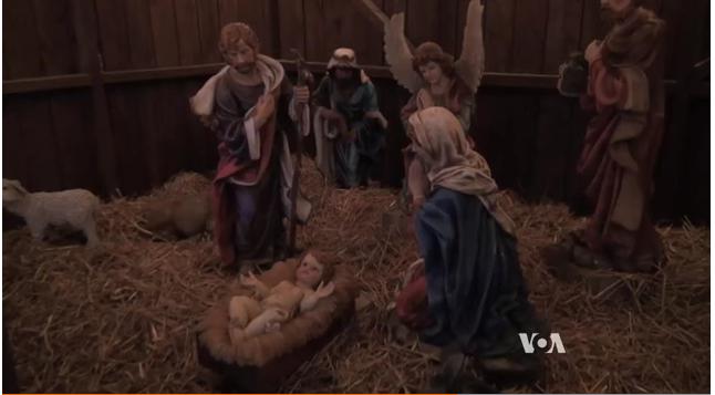 Nativity scene from the Koziar Christmas Village in Bernville, Pennsylvania (VOA/Deborah Block)