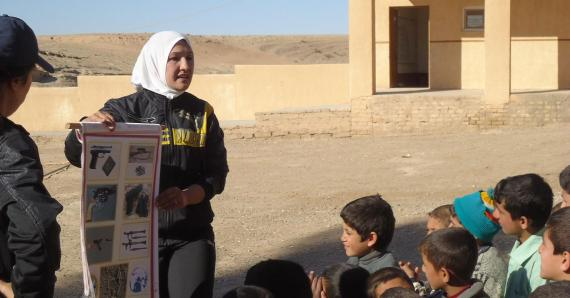 Iraqis trained by Spirit of Soccer conduct Mine Risk Education in Iraq to warn kids about potential dangers from unexploded ordnance (photo courtesy of Spirit of Soccer).