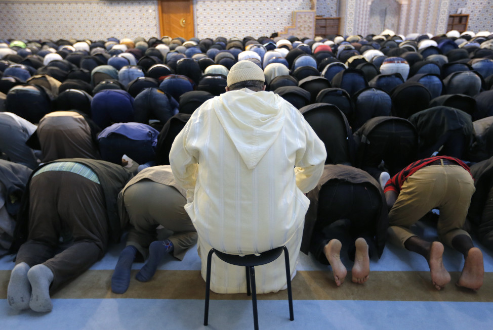 Members of the Muslim community attend Friday prayers at Strasbourg Grand Mosque in France on Nov. 20, 2015, one week after the deadly terrorist attacks in Paris.