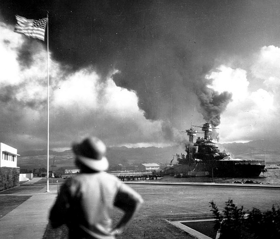 The U.S. Navy battleship USS California burns after an attack by a Japanese carrier-based aircraft on the Hawaiian port of Pearl Harbor on Dec. 7, 1941. (Reuters/U.S. Navy handout)