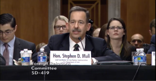 Stephen Mull, Lead Coordinator for Iran Nuclear Implementation for the State Dept., testifies at a Senate Foreign Relations Committee hearing December 17, 2015