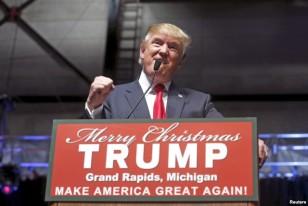 Donald Trump addresses a campaign rally in Grand Rapids, Michigan, Dec. 21, 2015. (Reuters)