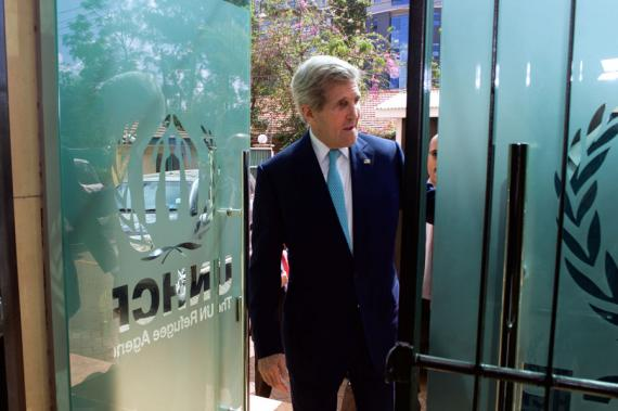U.S. Secretary of State John Kerry arrives at the UNHCR headquarters for a meeting with refugees in Nairobi, Kenya on May 4, 2015 (State Department phtoto)