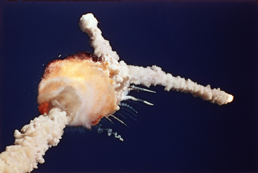 The Space Shuttle Challenger explodes shortly after lifting off from Kennedy Space Center, Fla., Tuesday, Jan. 28, 1986. All seven crew members died in the explosion. (AP file photo)