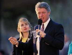 Then Arkansas governor and Democratic presidential candidate Bill Clinton and wife Hillary Clinton campaign outside the Tampa March 9, 1992. (AP file)