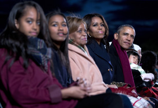The Obama family watches the annual Christmas tree lighting ceremony at the Ellipse in Washington on Dec. 3, 2015. (AP)