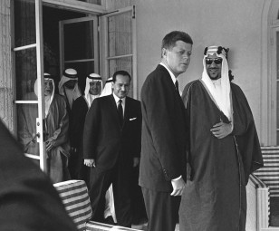 President John F. Kennedy paid a social call on King Saud of Saudi Arabia at his beach front home in Palm Beach, Florida on Jan. 27, 1962. (AP)
