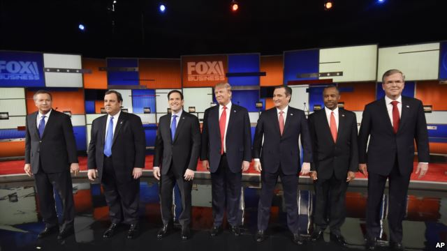 Republican presidential candidates take the stage before their debate at the North Charleston Coliseum in North Charleston, S.C., Jan. 14, 2016. AP