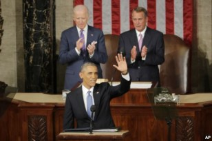 President Obama waves before giving his State of the Union address Jan. 20, 2015