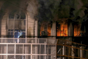 Flames and smoke rise from Saudi Arabia's embassy during a demonstration in Tehran on Jan. 2, 2016.  (Reuters)