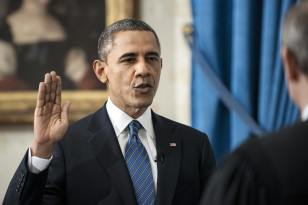 The president is sworn in for his second term at the White House on Jan. 20, 2013. (Reuters)