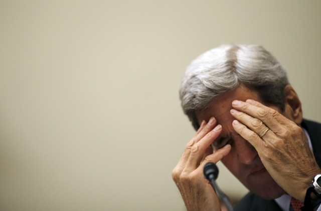 Secretary of State John Kerry pauses during testimony before a House Foreign Affairs Committee hearing on the Iran nuclear agreement on July 28, 2015. (Reuters)