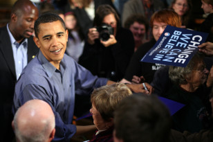 In this November 2007 file photo, then presidential candidate Senator Barack Obama speaks during a campaign stop in Ottumwa, Iowa. (Reuters)