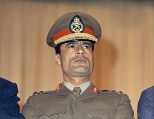 In this 1970 photo, Moammar Gaddafi is pictured at Cairo's airport. (AP/file)