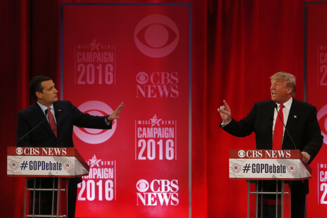 Republican presidential candidate Sen. Ted Cruz, R-Texas and Republican presidential candidate Donald Trump participate during a debate on Feb. 13, 2016 in Greenville, South Carolina. (AP)
