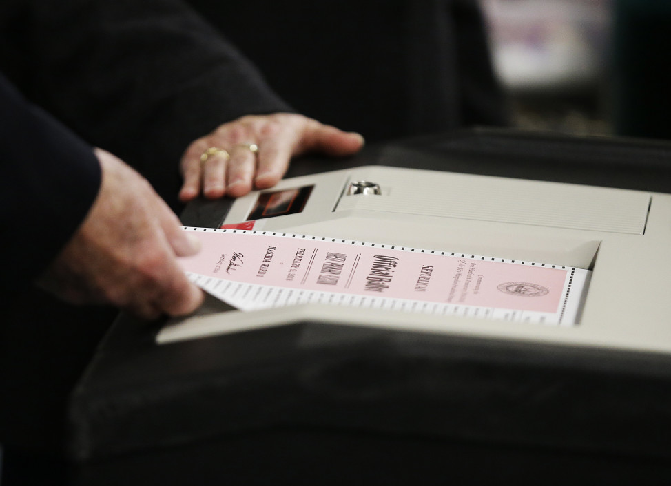 A ballot for the New Hampshire primary is entered into a voting machine in Nashua, N.H. on  Feb. 9, 2016. (AP)