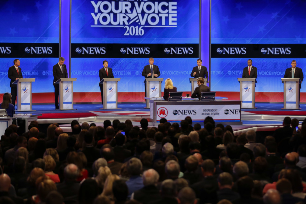 Republican presidential candidates, Ohio Gov. John Kasich, former Florida Gov. Jeb Bush, Sen. Marco Rubio, R-Fla., businessman Donald Trump, Sen. Ted Cruz, R-Texas, retired neurosurgeon Ben Carson and New Jersey Gov. Chris Christie (L-R) line up on the stage at the beginning of a Republican presidential primary debate on Feb. 6, 2016 in Manchester, N.H. (AP)