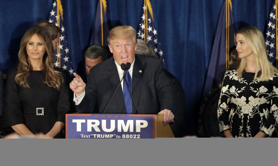 Republican presidential candidate, businessman Donald Trump speaks to supporters in New Hampshire on Feb. 9, 2016. (AP)