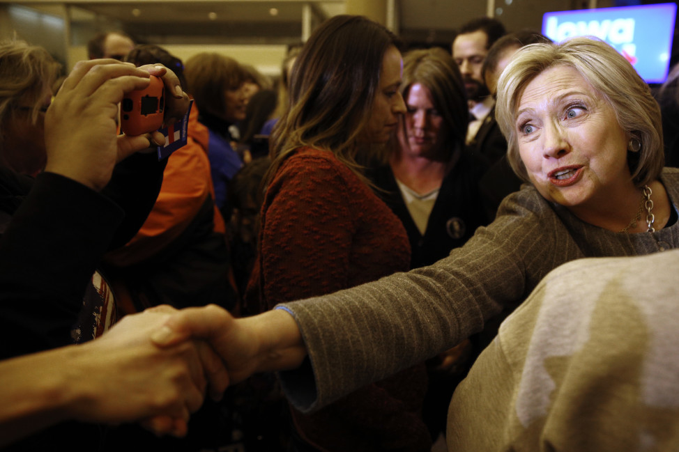 Democratic presidential candidate Hillary Clinton shakes hands with supporters afters speaking at a campaign rally in Sioux City, Iowa, Jan. 31, 2016. REUTERS