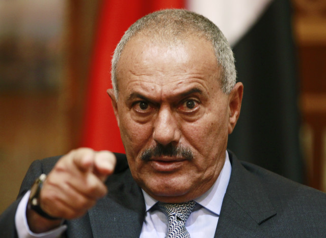 Yemen's President Ali Abdullah Saleh points during an interview with selected media, including Reuters, in Sanaa in 2011. (Reuters)