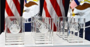 The 2016 International Women of Courage Awards are on display before U.S. Secretary of State John Kerry presents them to the 2016 winners in Washington on March 29, 2016. (State Depart. photo)