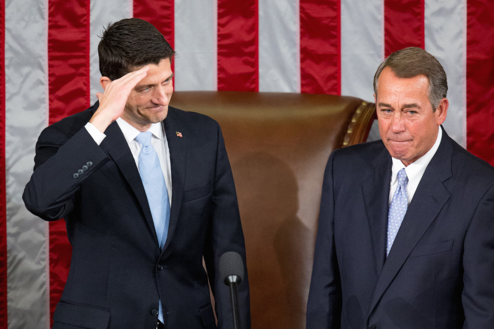 House Speaker John Boehner stands with his successor Rep. Paul Ryan, R-Wis., left, Capitol Hill in Washington on Oct. 29, 2015. (AP)