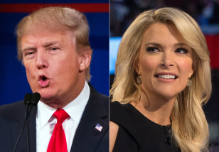 This combination photos shows Republican presidential candidate Donald Trump, left, and Fox News Channel host and moderator Megyn Kelly during the first Republican presidential debate at the Quicken Loans Arena in Cleveland on Aug 15, 2015. (AP)