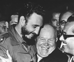 Cuba's Prime Minister Fidel Castro and Soviet Premier Nikita Khrushchev, embrace one another at the UN General Assembly, at the United Nations Building, in New York, NY, Sept. 20, 1960. (AP Photo)